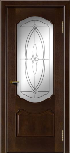 Двери ЛайнДор Богема красное дерево тон 18 стекло Белое