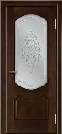 Двери ЛайнДор Богема красное дерево тон 18 стекло Вива сатин
