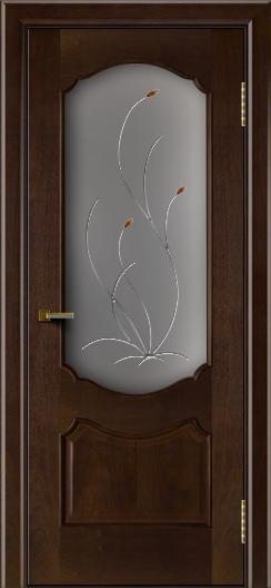 Двери ЛайнДор Богема красное дерево тон 18 стекло Ковыль