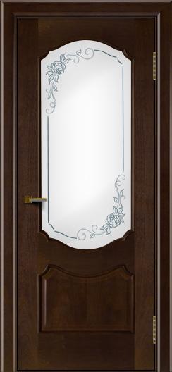 Двери ЛайнДор Богема красное дерево тон 18 стекло Роза