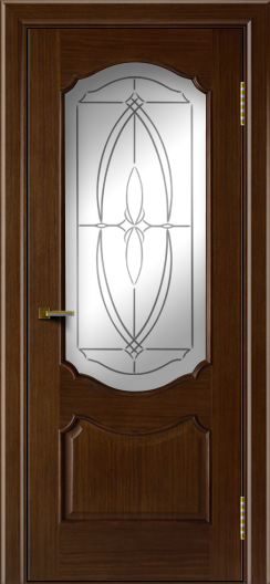Двери ЛайнДор Богема орех тон 2 стекло Белое