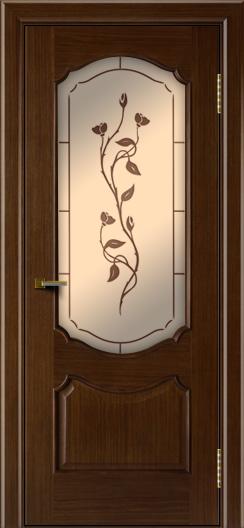 Двери ЛайнДор Богема орех тон 2 стекло Маки