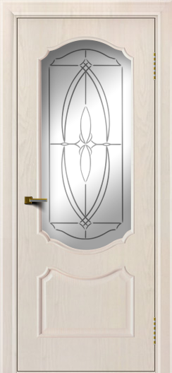 Двери ЛайнДор Богема ясень жемчуг тон 27 стекло Белое