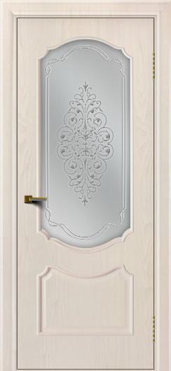 Двери ЛайнДор Богема ясень жемчуг тон 27 стекло Вива сатин