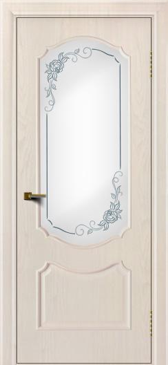 Двери ЛайнДор Богема ясень жемчуг тон 27 стекло Роза