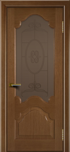 Двери ЛайнДор Верона дуб тон 5 стекло Антик