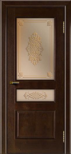 Двери ЛайнДор Калина красное дерево тон 18 стекло Дамаск бронза 2