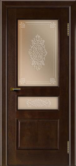 Двери ЛайнДор Калина красное дерево тон 18 стекло Дамаск бронза