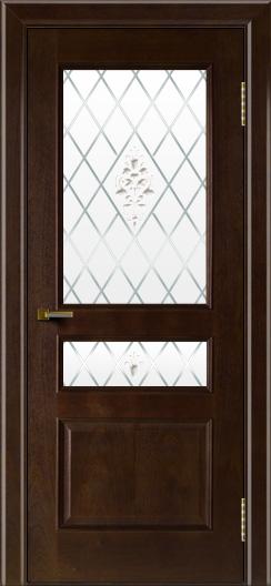 Двери ЛайнДор Калина красное дерево тон 18 стекло Лилия