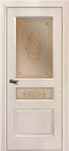 Двери ЛайнДор Калина ясень жемчуг тон 27 стекло Дамаск бронза 2