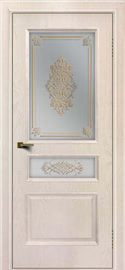 Двери ЛайнДор Калина ясень жемчуг тон 27 стекло Дамаск