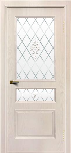 Двери ЛайнДор Калина ясень жемчуг тон 27 стекло Лилия