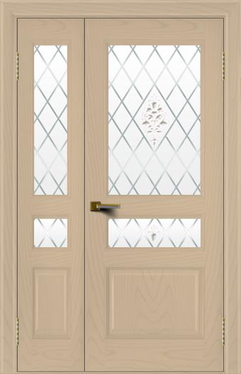 Двери ЛайнДор Калина ясень тон 3 полуторная стекло Лилия