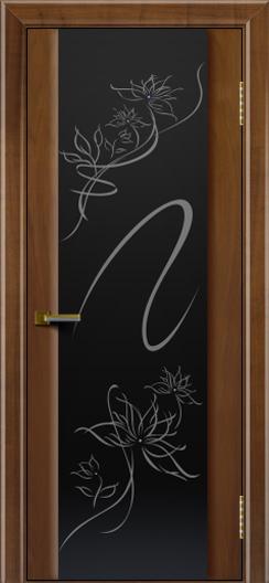 Двери ЛайнДор Камелия американский орех тон 23 стекло рис. Камелия