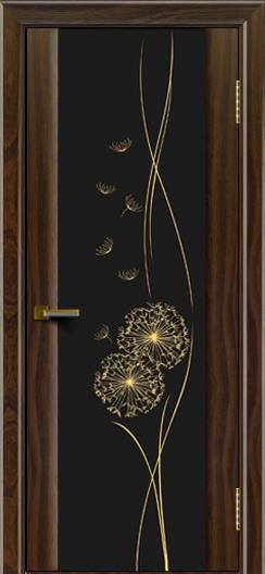 Двери ЛайнДор Камелия американский орех тон 25 стекло Одуванчик