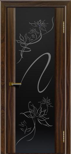 Двери ЛайнДор Камелия американский орех тон 25 стекло рис. Камелия