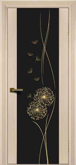 Двери ЛайнДор Камелия беленый дуб тон 16 стекло Одуванчик