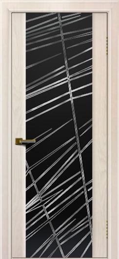 Двери ЛайнДор Камелия жемчуг тон 27 стекло Графит