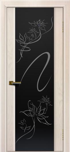 Двери ЛайнДор Камелия жемчуг тон 27 стекло рис. Камелия