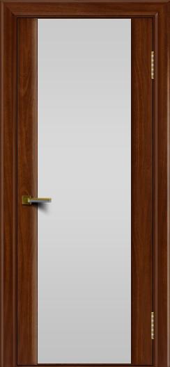 Двери ЛайнДор Камелия красное дерево тон 10 стекло Белое