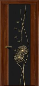 Двери ЛайнДор Камелия красное дерево тон 10 стекло Одуванчик