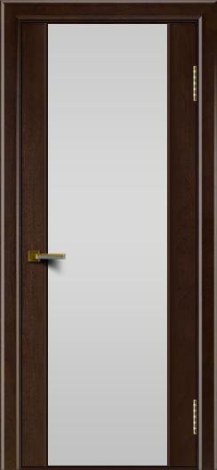 Двери ЛайнДор Камелия красное дерево тон 18 стекло Белое