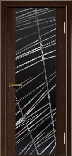 Двери ЛайнДор Камелия красное дерево тон 18 стекло Графит