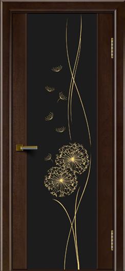Двери ЛайнДор Камелия красное дерево тон 18 стекло Одуванчик