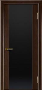 Двери ЛайнДор Камелия красное дерево тон 18 стекло Черное