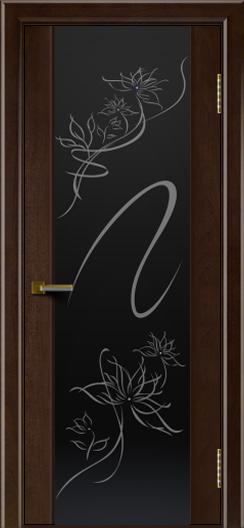 Двери ЛайнДор Камелия красное дерево тон 18 стекло рис. Камелия