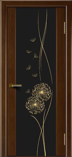 Двери ЛайнДор Камелия орех тон 2 стекло Одуванчик