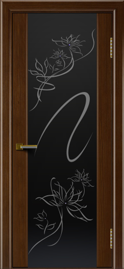 Двери ЛайнДор Камелия орех тон 2 стекло рис. Камелия