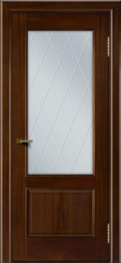 Двери ЛайнДор Кантри красное дерево тон 10 стекло Лондон