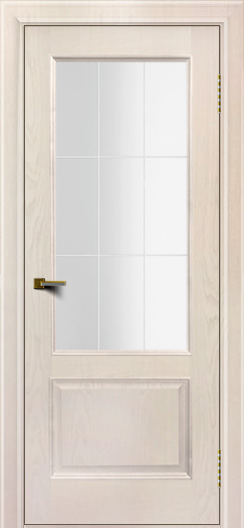 Двери ЛайнДор Кантри ясень жемчуг тон 27 стекло Решетка