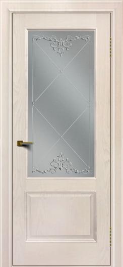 Двери ЛайнДор Кантри ясень жемчуг тон 27 стекло Узор