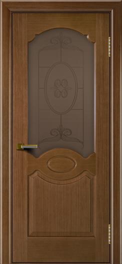 Двери ЛайнДор Карамелька дуб тон 5 стекло Антик