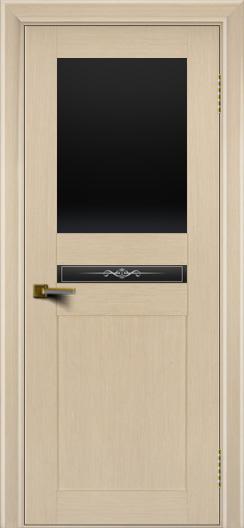 Двери ЛайнДор Кристина беленый дуб тон 16 стекло Черное верхнее