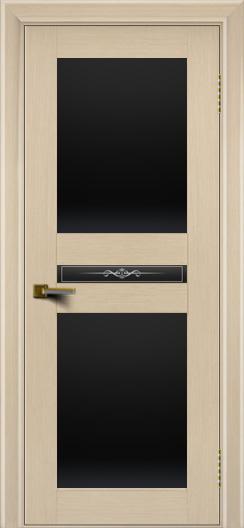 Двери ЛайнДор Кристина беленый дуб тон 16 стекло Черное полное