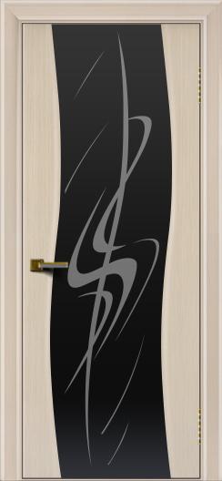 Двери ЛайнДор Лайма беленый дуб тон 16 стекло Пламя