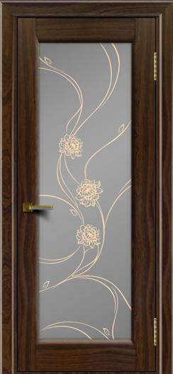 Двери ЛайнДор Мальта американский орех тон 25 стекло Астра золотая