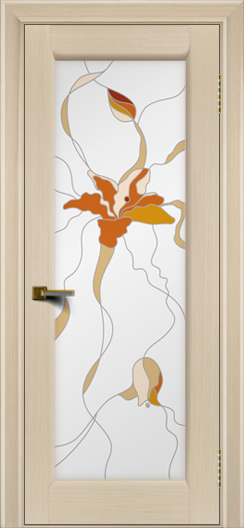 Двери ЛайнДор Мальта беленый дуб тон 16 Витраж