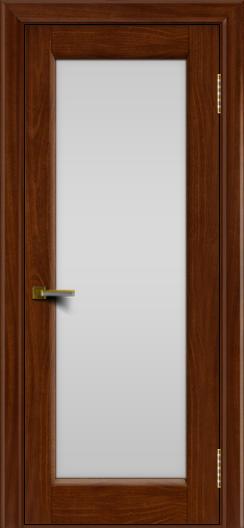 Двери ЛайнДор Мальта красное дерево тон 10 стекло белое