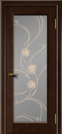 Двери ЛайнДор Мальта красное дерево тон 18 стекло Астра золотая