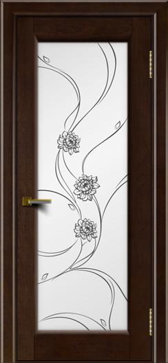 Двери ЛайнДор Мальта красное дерево тон 18 стекло Астра черная