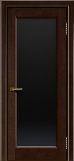 Двери ЛайнДор Мальта красное дерево тон 18 стекло черное