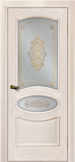 Двери ЛайнДор Оливия ясень жемчуг тон 27 стекло Дамаск