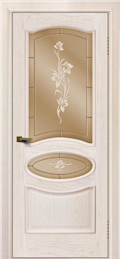 Двери ЛайнДор Оливия ясень жемчуг тон 27 стекло Рим бронза