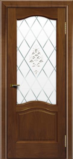 Двери ЛайнДор Пронто американский орех тон 23 стекло Лилия