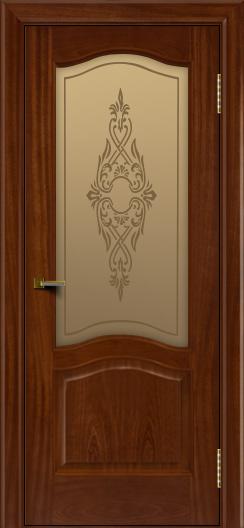 Двери ЛайнДор Пронто красное дерево тон 10 стекло Айрис бронза