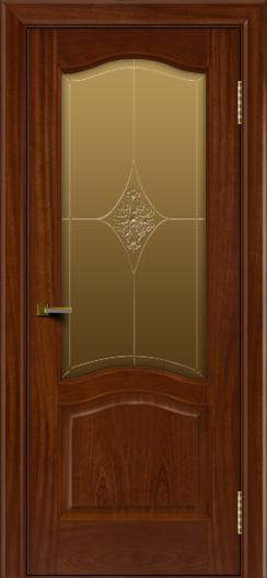 Двери ЛайнДор Пронто красное дерево тон 10 стекло Амелия бронза